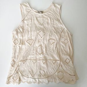 Lucky Brand tank cream with cutouts